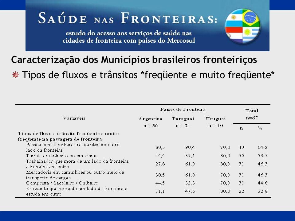 Caracterização dos Municípios brasileiros fronteiriços Tipos de fluxos e trânsitos *freqüente e muito freqüente*