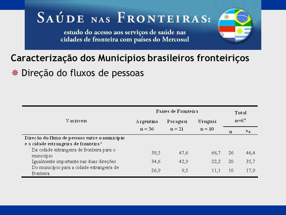 Caracterização dos Municípios brasileiros fronteiriços Direção do fluxos de pessoas