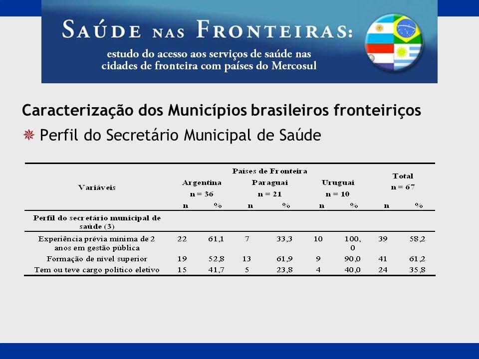 Caracterização dos Municípios brasileiros fronteiriços Perfil do Secretário Municipal de Saúde