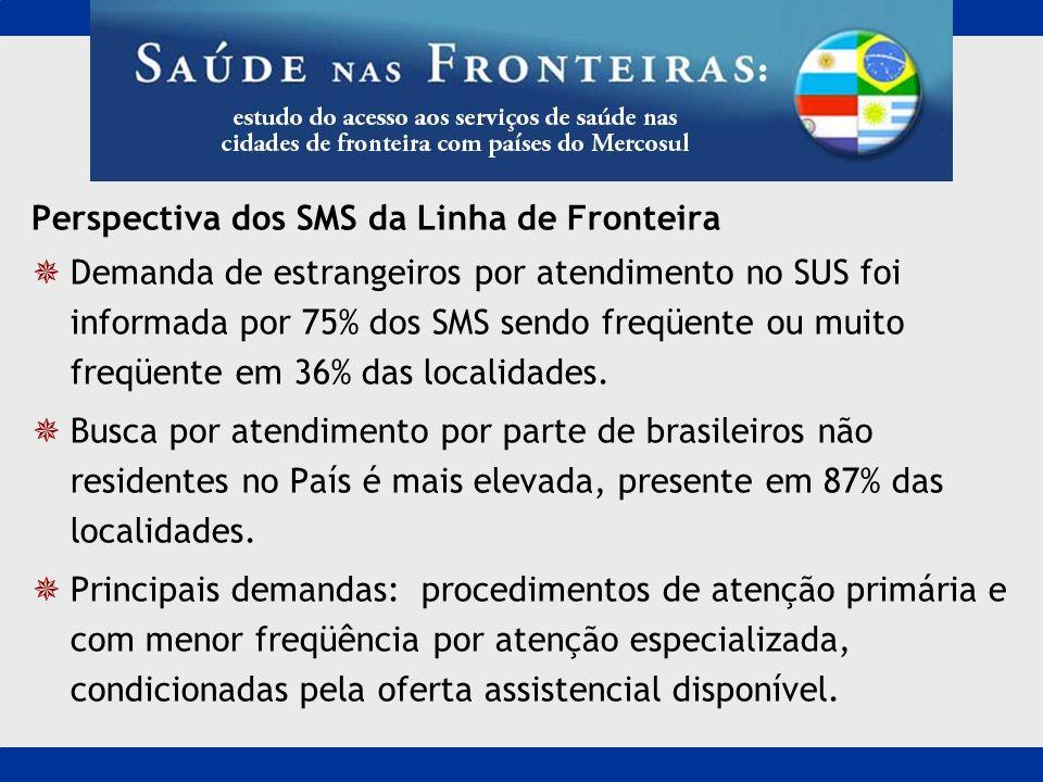 Perspectiva dos SMS da Linha de Fronteira Demanda de estrangeiros por atendimento no SUS foi informada por 75% dos SMS sendo freqüente ou muito freqüe