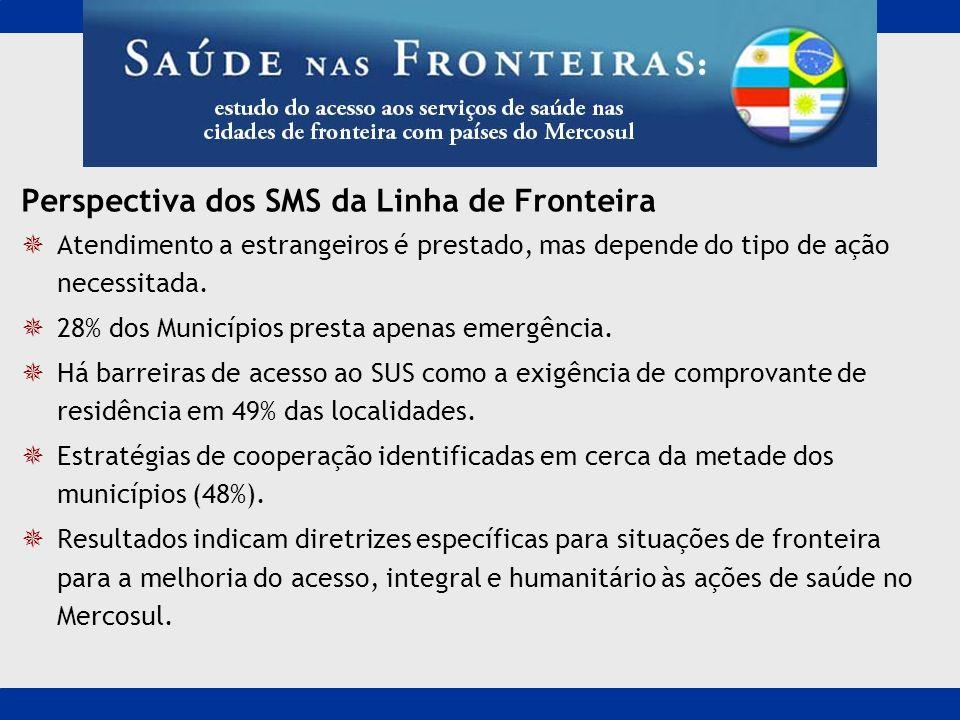 Perspectiva dos SMS da Linha de Fronteira Atendimento a estrangeiros é prestado, mas depende do tipo de ação necessitada. 28% dos Municípios presta ap