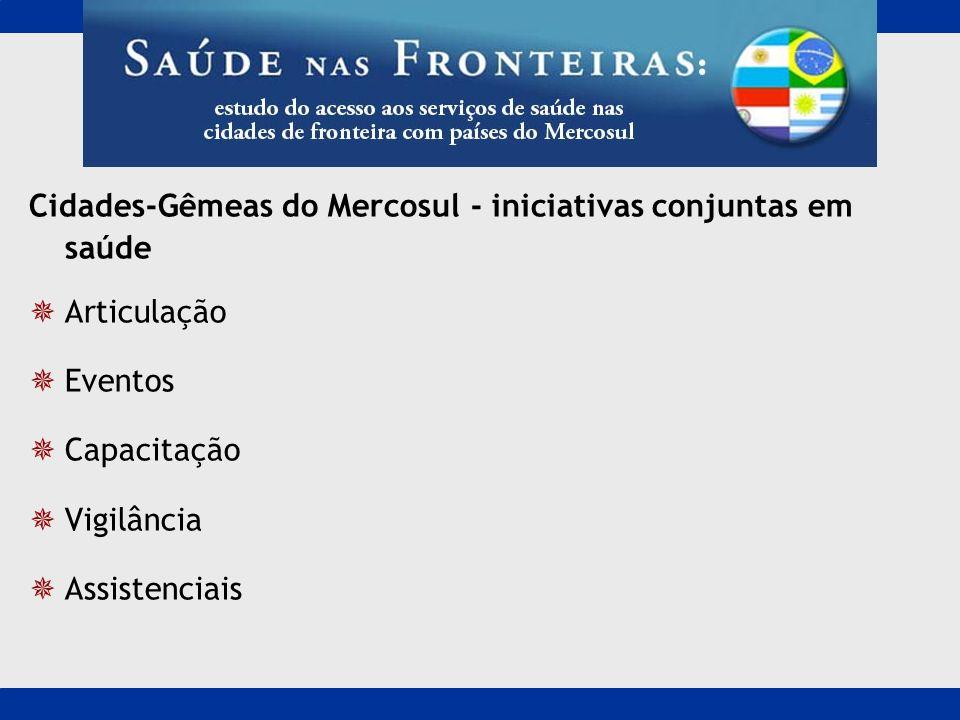 Cidades-Gêmeas do Mercosul - iniciativas conjuntas em saúde Articulação Eventos Capacitação Vigilância Assistenciais