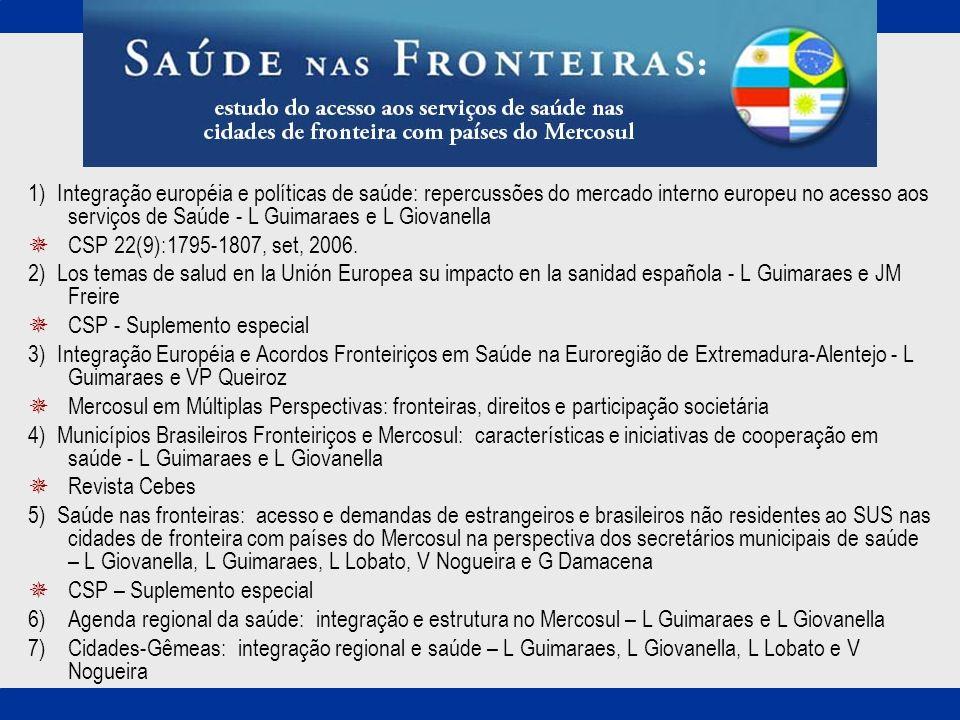 1) Integração européia e políticas de saúde: repercussões do mercado interno europeu no acesso aos serviços de Saúde - L Guimaraes e L Giovanella CSP