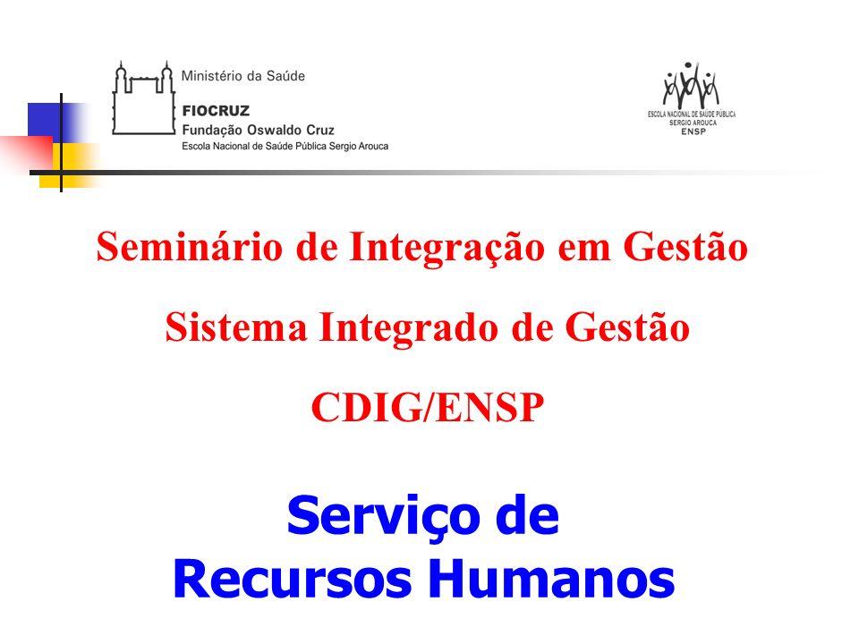 Serviço de Recursos Humanos CDIG/ENSP Missão Institucional: Assessorar a Direção e os colaboradores da ENSP, oferecendo suporte técnico, administrativo e legal para atender as necessidades funcionais, promover a melhoria da qualificação, do desenvolvimento e qualidade de vida.