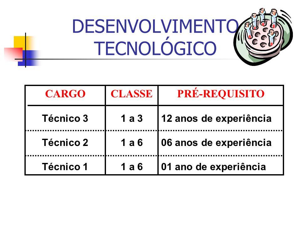 DESENVOLVIMENTO TECNOLÓGICO CARGO Técnico 3 Técnico 2 Técnico 1 CLASSE 1 a 3 1 a 6 PRÉ-REQUISITO 12 anos de experiência 06 anos de experiência 01 ano