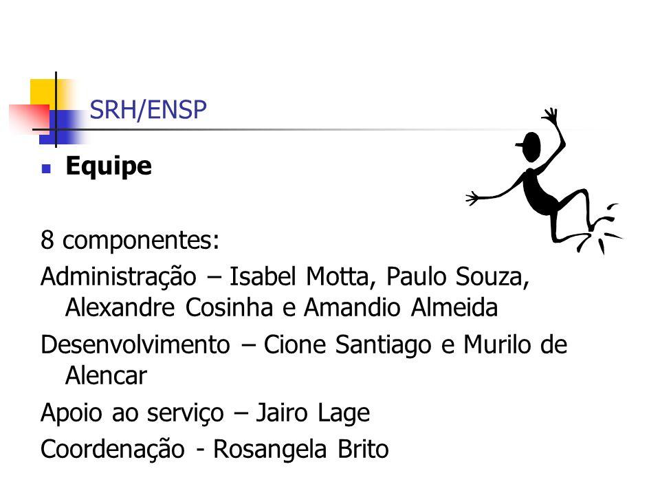 SRH/ENSP Equipe 8 componentes: Administração – Isabel Motta, Paulo Souza, Alexandre Cosinha e Amandio Almeida Desenvolvimento – Cione Santiago e Muril
