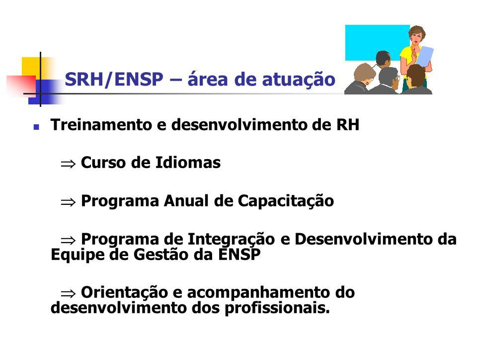 SRH/ENSP – área de atuação Treinamento e desenvolvimento de RH Curso de Idiomas Programa Anual de Capacitação Programa de Integração e Desenvolvimento