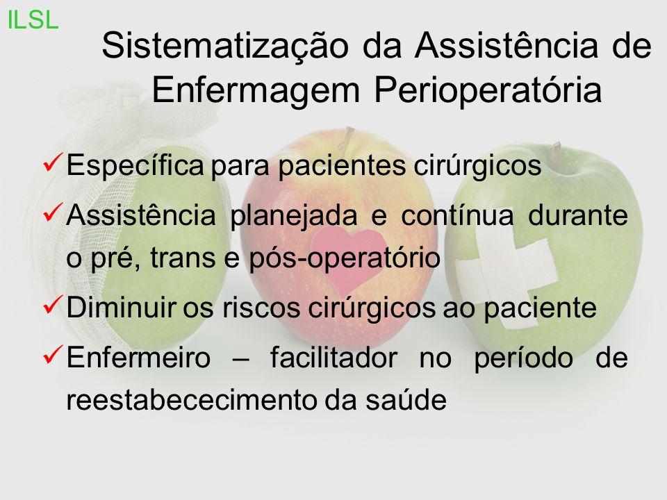 Sistematização da Assistência de Enfermagem Perioperatória Específica para pacientes cirúrgicos Assistência planejada e contínua durante o pré, trans e pós-operatório Diminuir os riscos cirúrgicos ao paciente Enfermeiro – facilitador no período de reestabececimento da saúde ILSL
