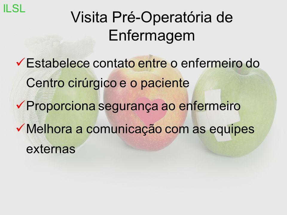 Visita Pré-Operatória de Enfermagem Estabelece contato entre o enfermeiro do Centro cirúrgico e o paciente Proporciona segurança ao enfermeiro Melhora a comunicação com as equipes externas ILSL