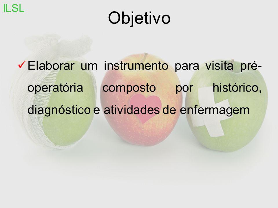 Objetivo Elaborar um instrumento para visita pré- operatória composto por histórico, diagnóstico e atividades de enfermagem ILSL