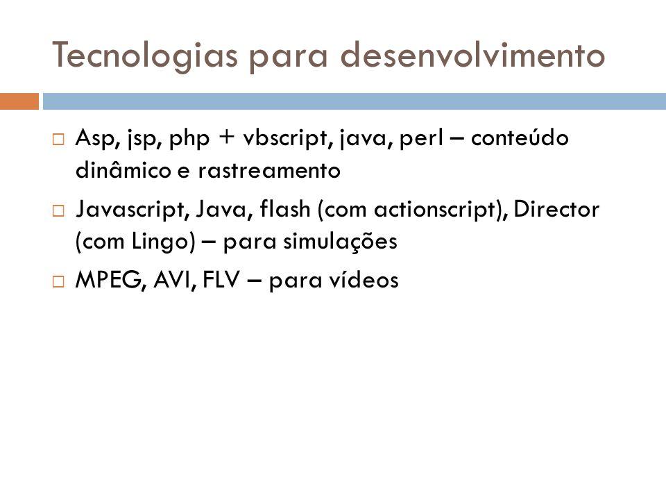 Tecnologias para desenvolvimento Asp, jsp, php + vbscript, java, perl – conteúdo dinâmico e rastreamento Javascript, Java, flash (com actionscript), D