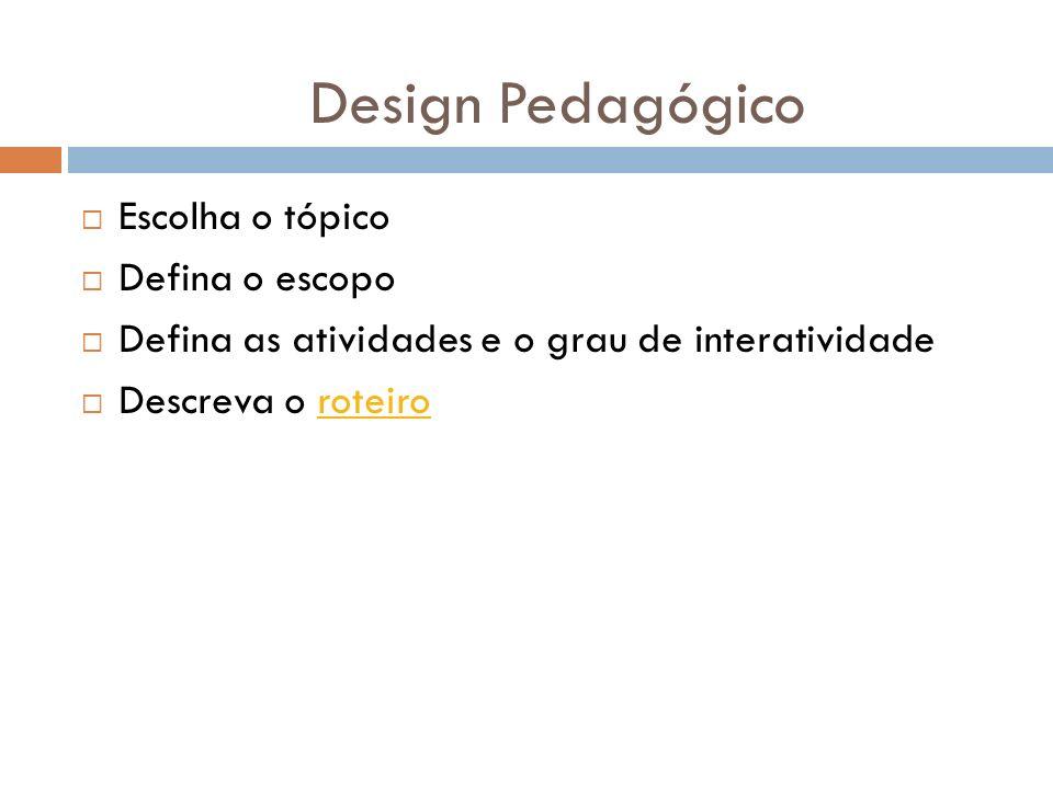 Escolha o tópico Defina o escopo Defina as atividades e o grau de interatividade Descreva o roteiroroteiro Design Pedagógico