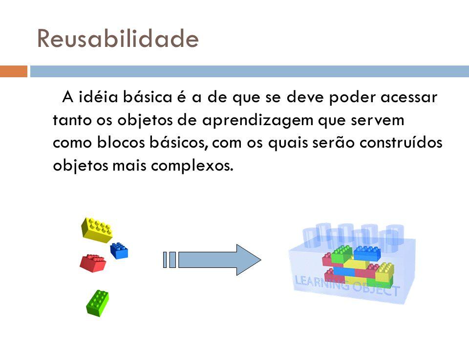 Reusabilidade A idéia básica é a de que se deve poder acessar tanto os objetos de aprendizagem que servem como blocos básicos, com os quais serão cons