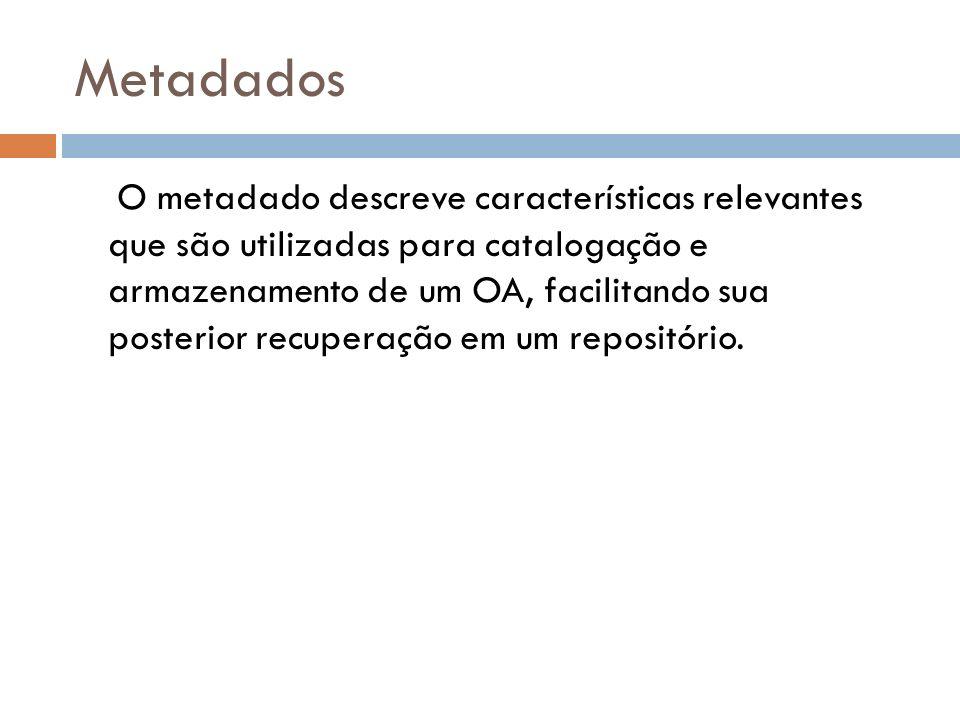 Metadados O metadado descreve características relevantes que são utilizadas para catalogação e armazenamento de um OA, facilitando sua posterior recup