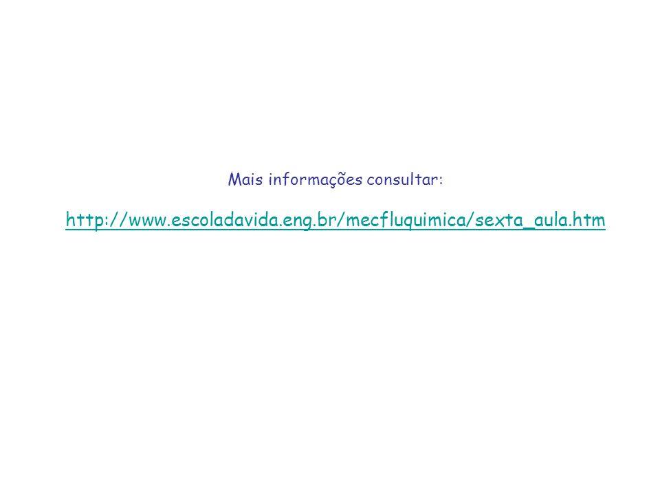 Mais informações consultar: http://www.escoladavida.eng.br/mecfluquimica/sexta_aula.htm http://www.escoladavida.eng.br/mecfluquimica/sexta_aula.htm