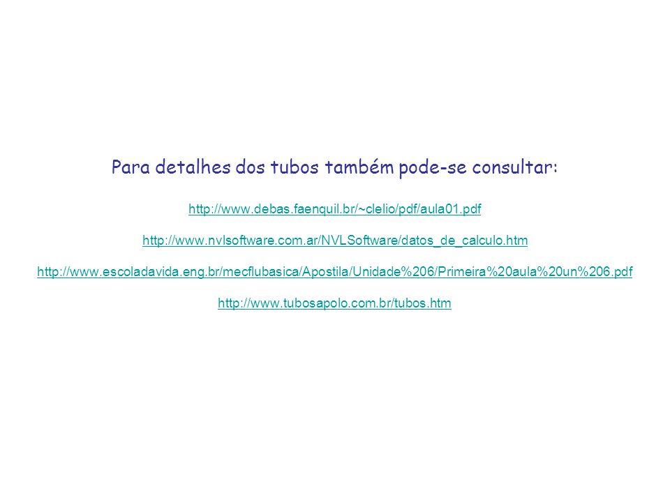 Para detalhes dos tubos também pode-se consultar: http://www.debas.faenquil.br/~clelio/pdf/aula01.pdf http://www.nvlsoftware.com.ar/NVLSoftware/datos_