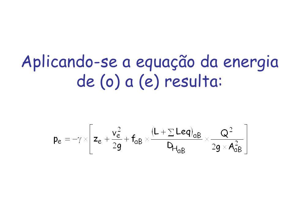 Aplicando-se a equação da energia de (o) a (e) resulta: