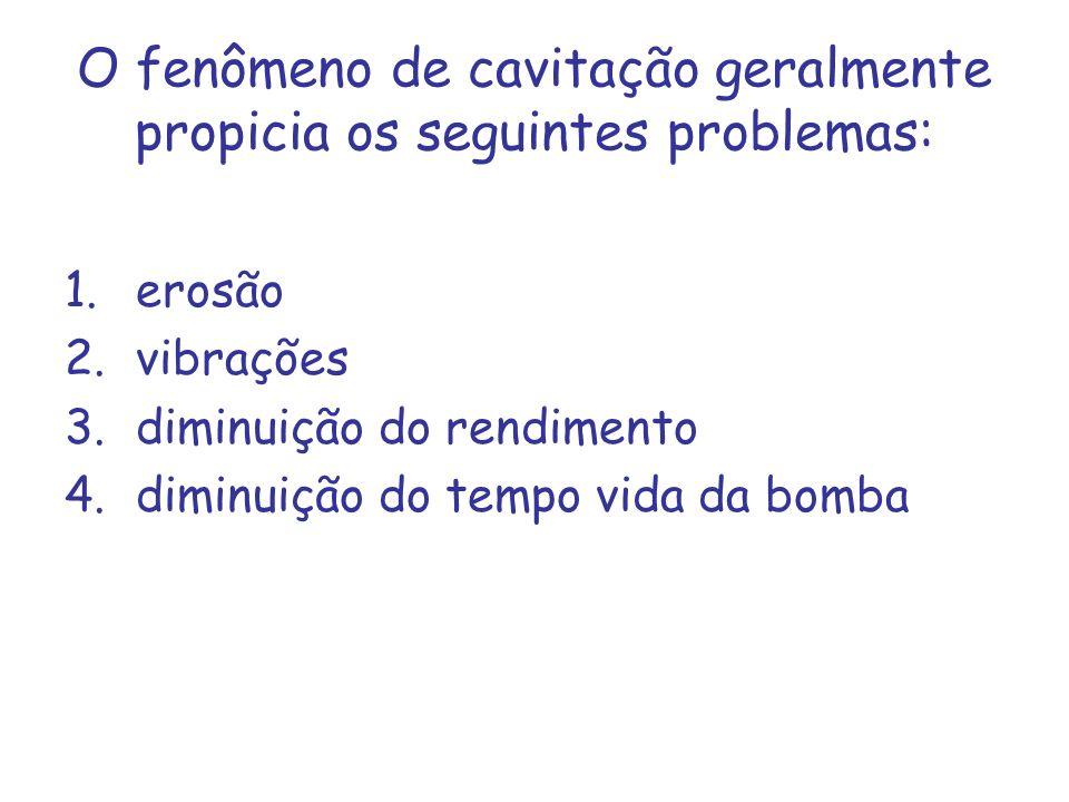 O fenômeno de cavitação geralmente propicia os seguintes problemas: 1.erosão 2.vibrações 3.diminuição do rendimento 4.diminuição do tempo vida da bomb
