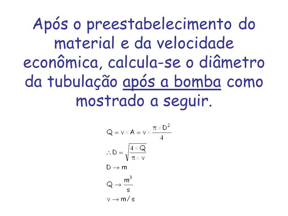 Após o preestabelecimento do material e da velocidade econômica, calcula-se o diâmetro da tubulação após a bomba como mostrado a seguir.