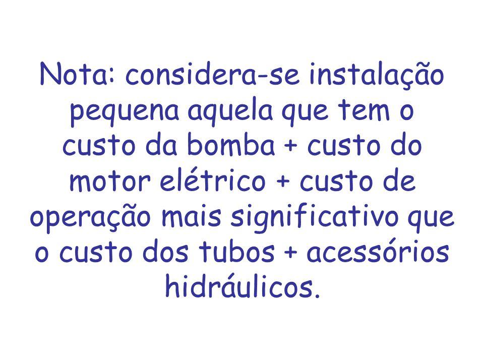 Nota: considera-se instalação pequena aquela que tem o custo da bomba + custo do motor elétrico + custo de operação mais significativo que o custo dos