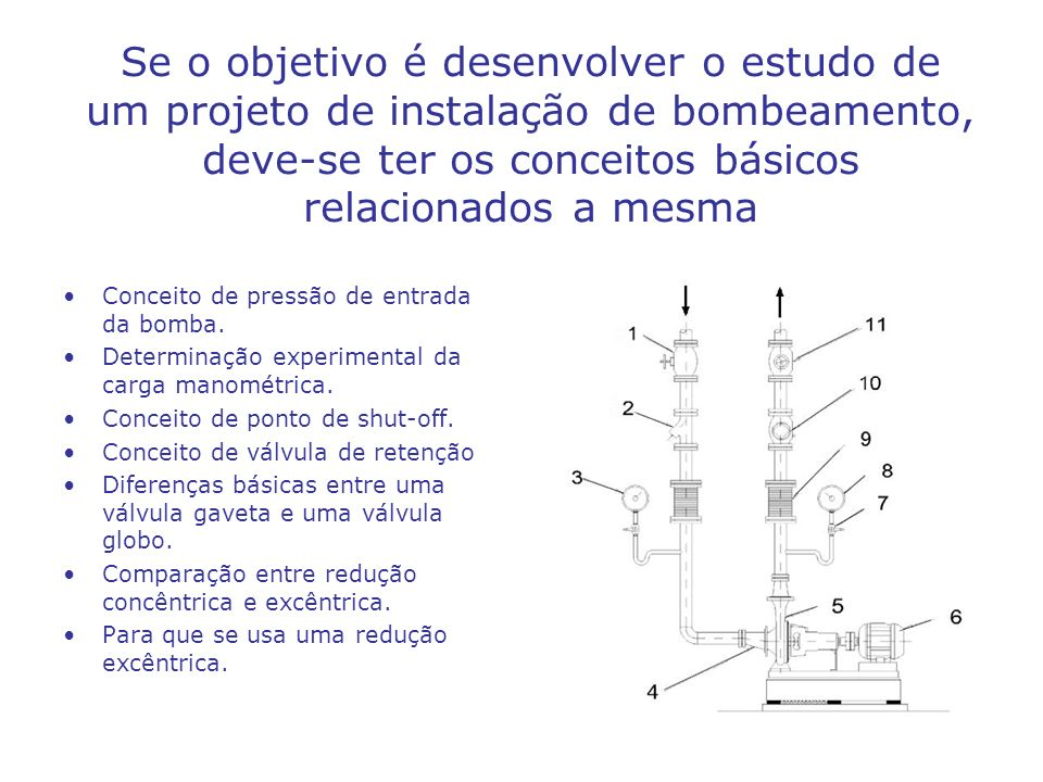 Se o objetivo é desenvolver o estudo de um projeto de instalação de bombeamento, deve-se ter os conceitos básicos relacionados a mesma Conceito de pre