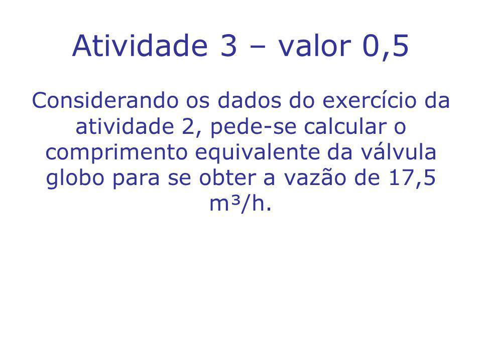 Atividade 3 – valor 0,5 Considerando os dados do exercício da atividade 2, pede-se calcular o comprimento equivalente da válvula globo para se obter a vazão de 17,5 m³/h.