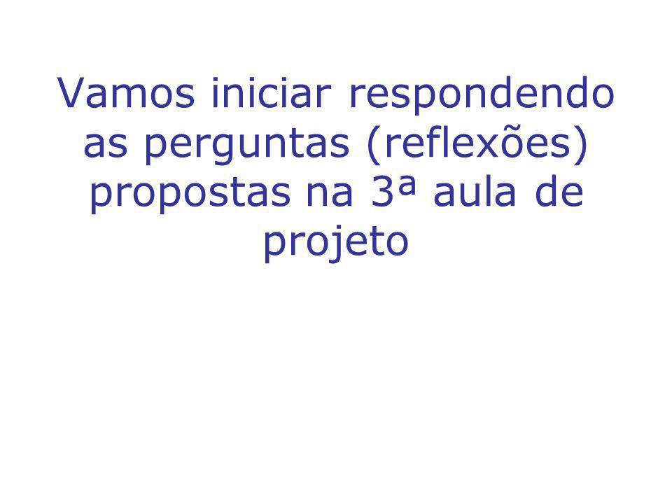 Vamos iniciar respondendo as perguntas (reflexões) propostas na 3ª aula de projeto