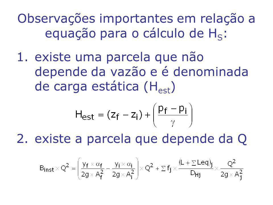Observações importantes em relação a equação para o cálculo de H S : 1.existe uma parcela que não depende da vazão e é denominada de carga estática (H est ) 2.existe a parcela que depende da Q