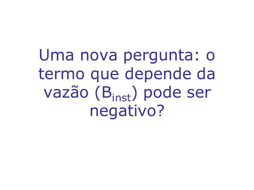 Uma nova pergunta: o termo que depende da vazão (B inst ) pode ser negativo