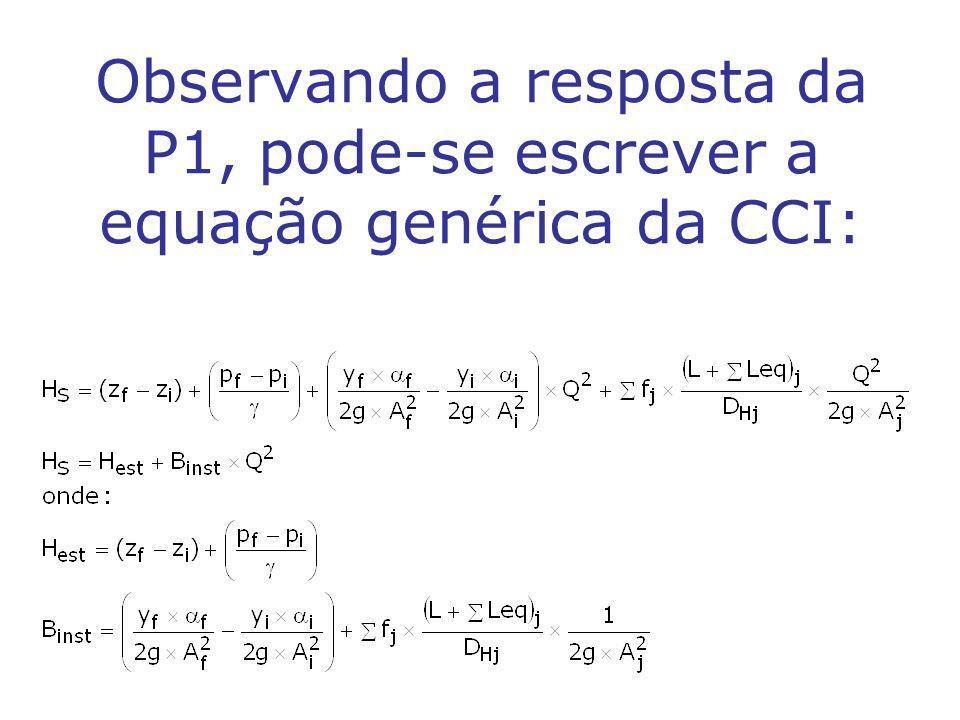 Observando a resposta da P1, pode-se escrever a equação genérica da CCI: