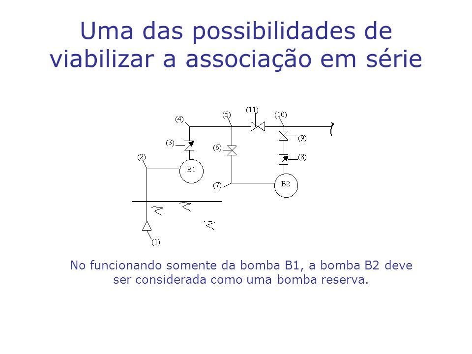 Uma das possibilidades de viabilizar a associação em série No funcionando somente da bomba B1, a bomba B2 deve ser considerada como uma bomba reserva.