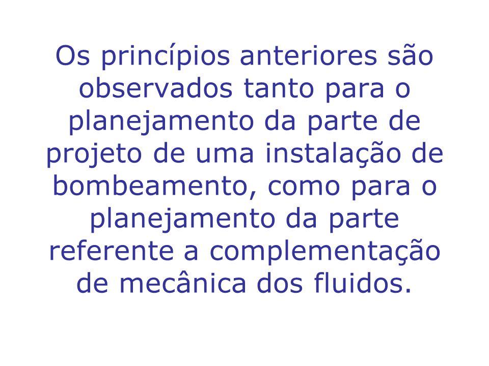 Os princípios anteriores são observados tanto para o planejamento da parte de projeto de uma instalação de bombeamento, como para o planejamento da pa