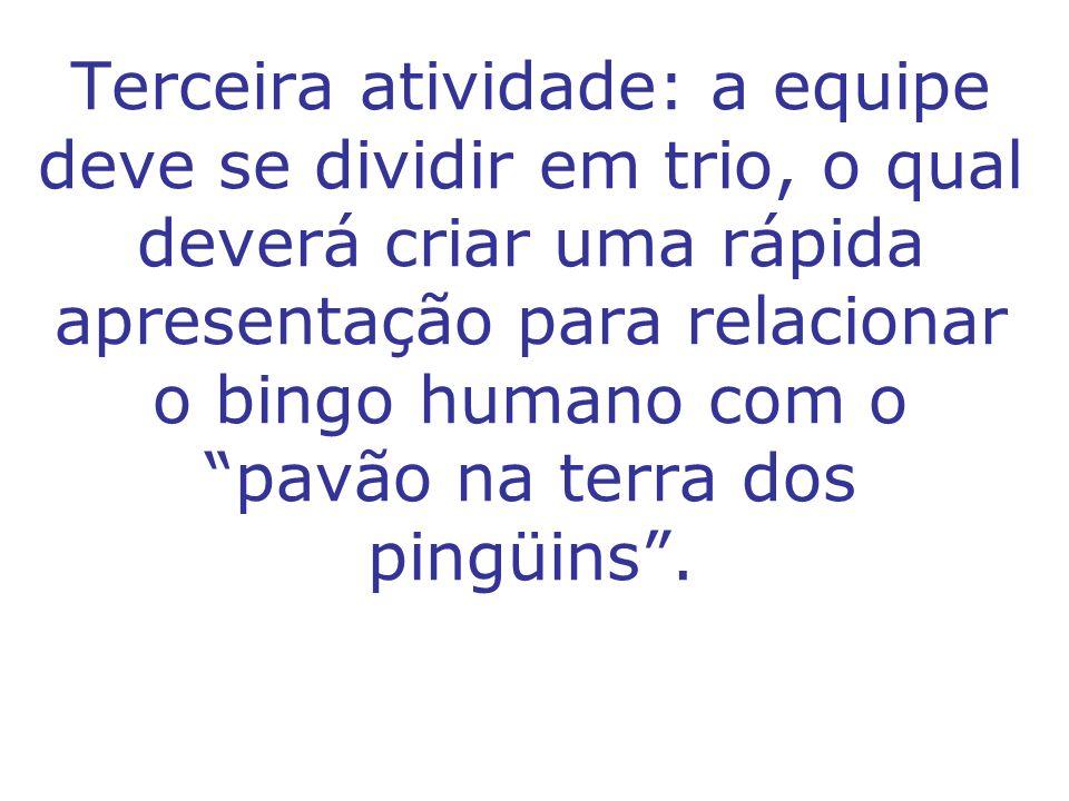 Terceira atividade: a equipe deve se dividir em trio, o qual deverá criar uma rápida apresentação para relacionar o bingo humano com o pavão na terra
