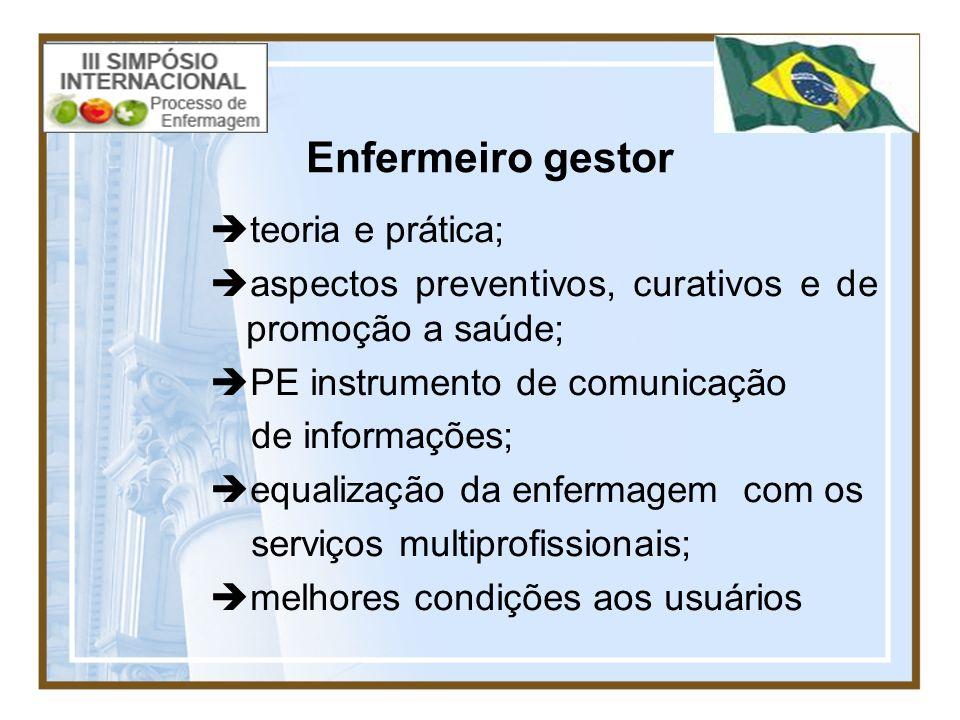 Enfermeiro gestor teoria e prática; aspectos preventivos, curativos e de promoção a saúde; PE instrumento de comunicação de informações; equalização d
