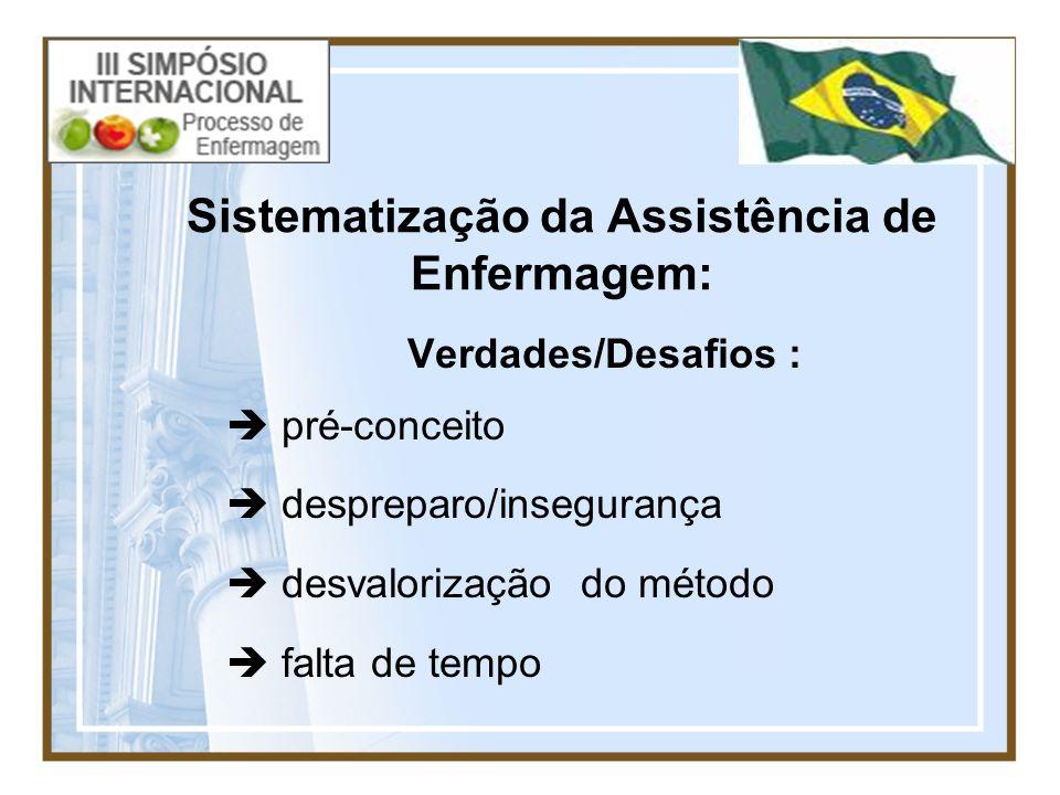 Sistematização da Assistência de Enfermagem: Verdades/Desafios : pré-conceito despreparo/insegurança desvalorização do método falta de tempo