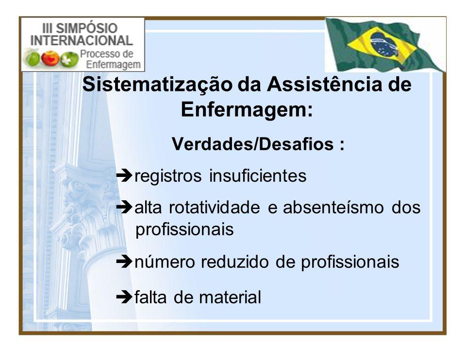 Sistematização da Assistência de Enfermagem: Verdades/Desafios : registros insuficientes alta rotatividade e absenteísmo dos profissionais número redu