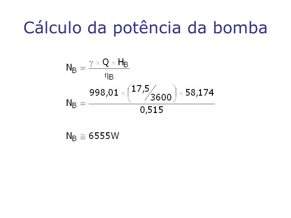 Cálculo da potência da bomba