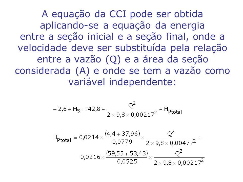 A equação da CCI pode ser obtida aplicando-se a equação da energia entre a seção inicial e a seção final, onde a velocidade deve ser substituída pela