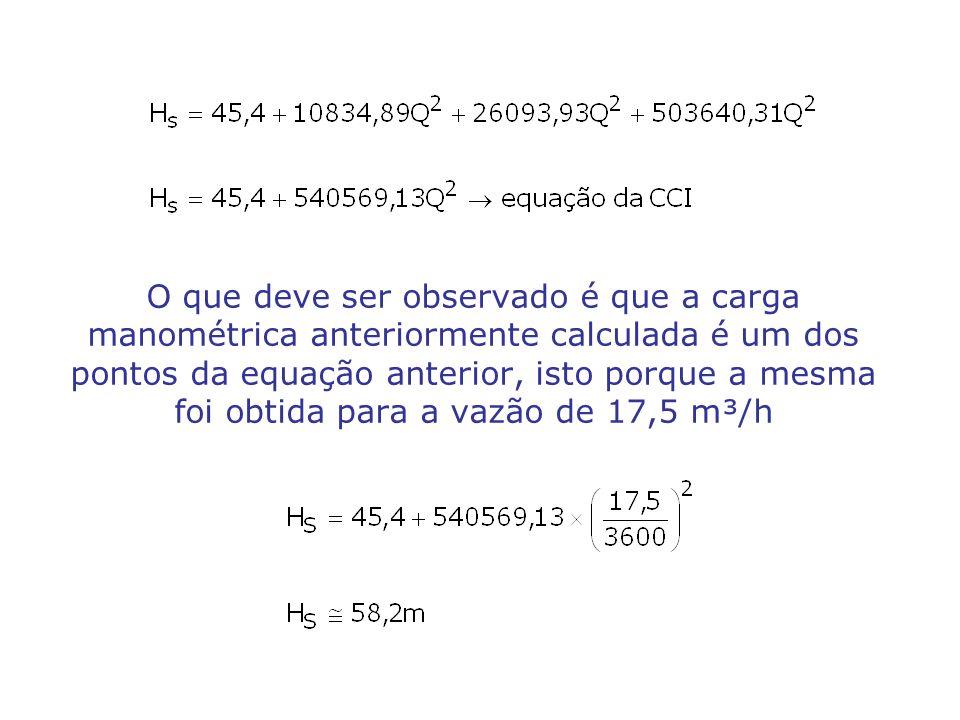 O que deve ser observado é que a carga manométrica anteriormente calculada é um dos pontos da equação anterior, isto porque a mesma foi obtida para a