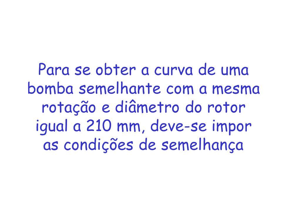 Para se obter a curva de uma bomba semelhante com a mesma rotação e diâmetro do rotor igual a 210 mm, deve-se impor as condições de semelhança