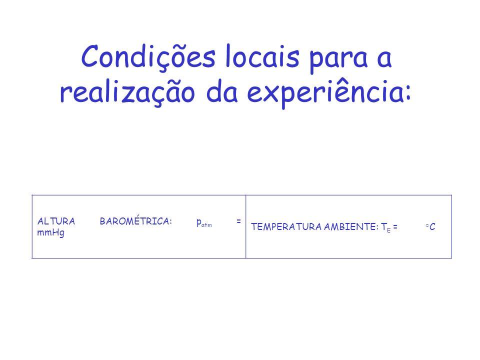 Condições locais para a realização da experiência: ALTURA BAROMÉTRICA: p atm = mmHg TEMPERATURA AMBIENTE: T E = °C