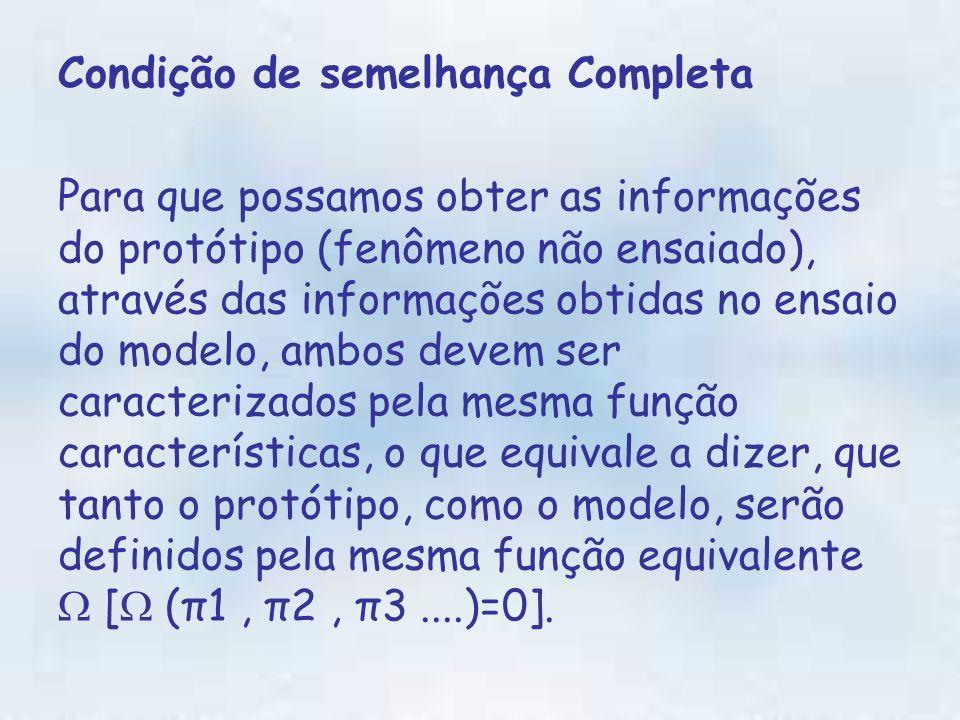 Condição de semelhança Completa Para que possamos obter as informações do protótipo (fenômeno não ensaiado), através das informações obtidas no ensaio do modelo, ambos devem ser caracterizados pela mesma função características, o que equivale a dizer, que tanto o protótipo, como o modelo, serão definidos pela mesma função equivalente [ (π1, π2, π3....)=0].
