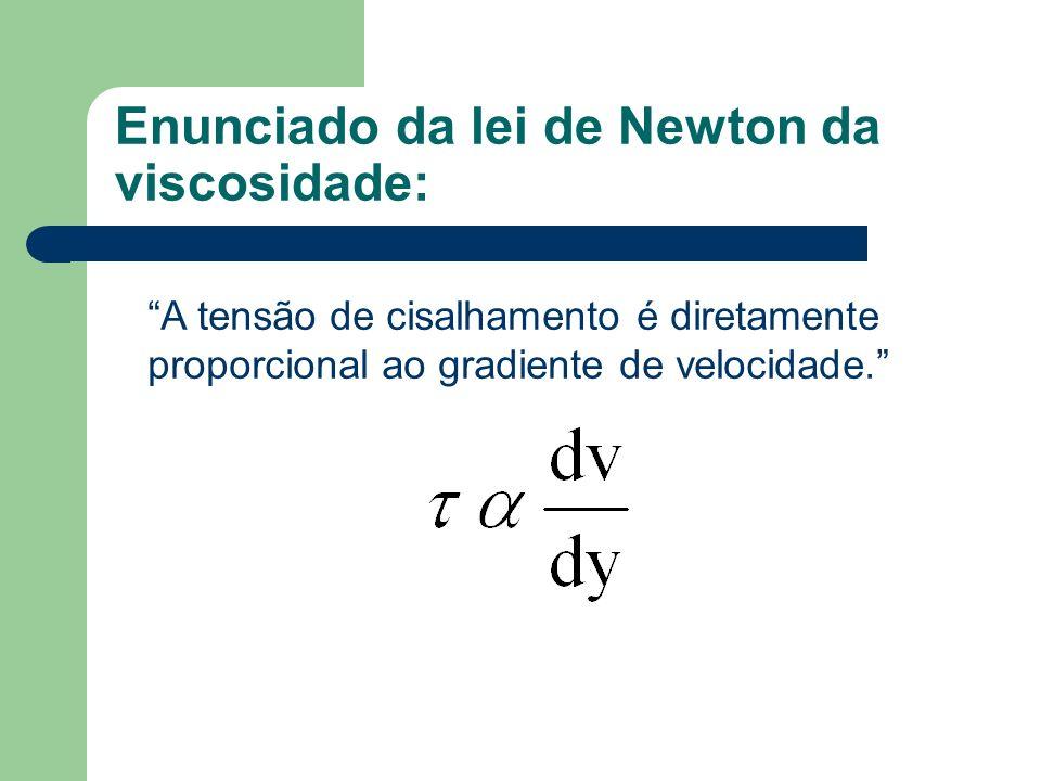 Enunciado da lei de Newton da viscosidade: A tensão de cisalhamento é diretamente proporcional ao gradiente de velocidade.
