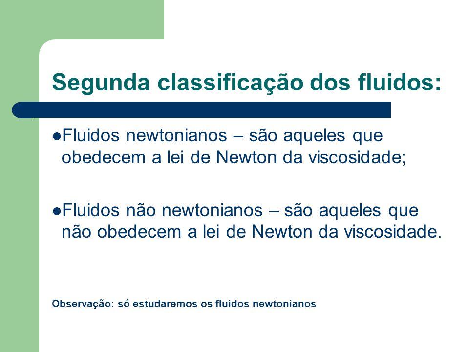 Segunda classificação dos fluidos: Fluidos newtonianos – são aqueles que obedecem a lei de Newton da viscosidade; Fluidos não newtonianos – são aquele