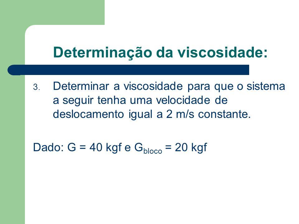 Determinação da viscosidade: 3. Determinar a viscosidade para que o sistema a seguir tenha uma velocidade de deslocamento igual a 2 m/s constante. Dad