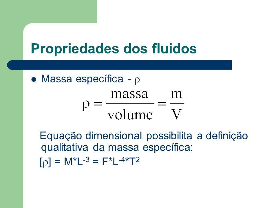 Propriedades dos fluidos Massa específica - Equação dimensional possibilita a definição qualitativa da massa específica: [ ] = M*L -3 = F*L -4 *T 2