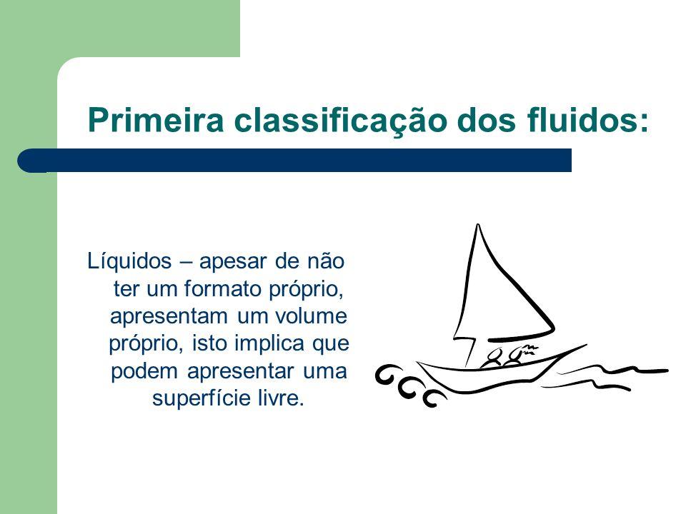 Primeira classificação dos fluidos: Líquidos – apesar de não ter um formato próprio, apresentam um volume próprio, isto implica que podem apresentar u