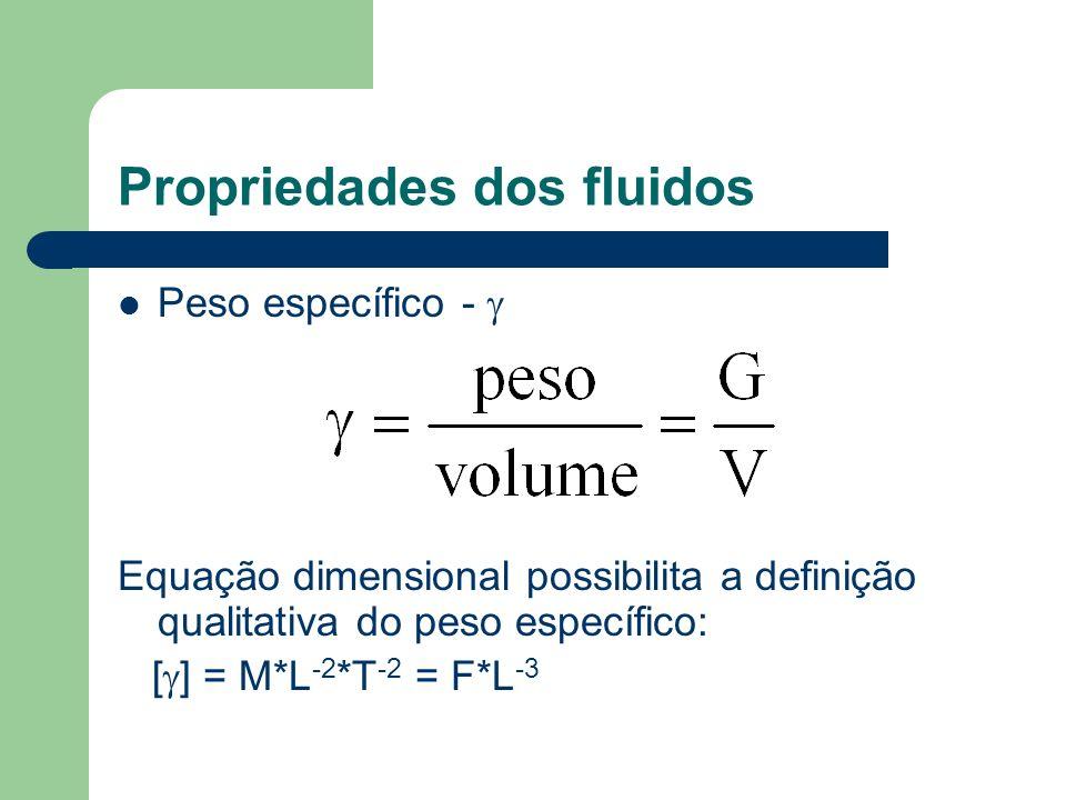 Propriedades dos fluidos Peso específico - Equação dimensional possibilita a definição qualitativa do peso específico: [ ] = M*L -2 *T -2 = F*L -3