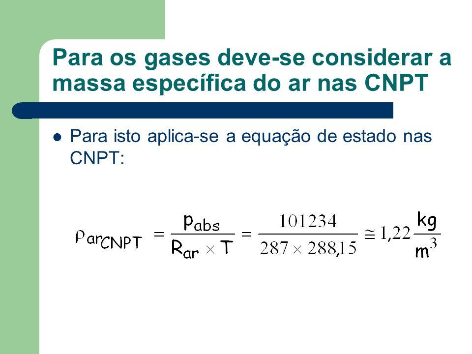 Para os gases deve-se considerar a massa específica do ar nas CNPT Para isto aplica-se a equação de estado nas CNPT: