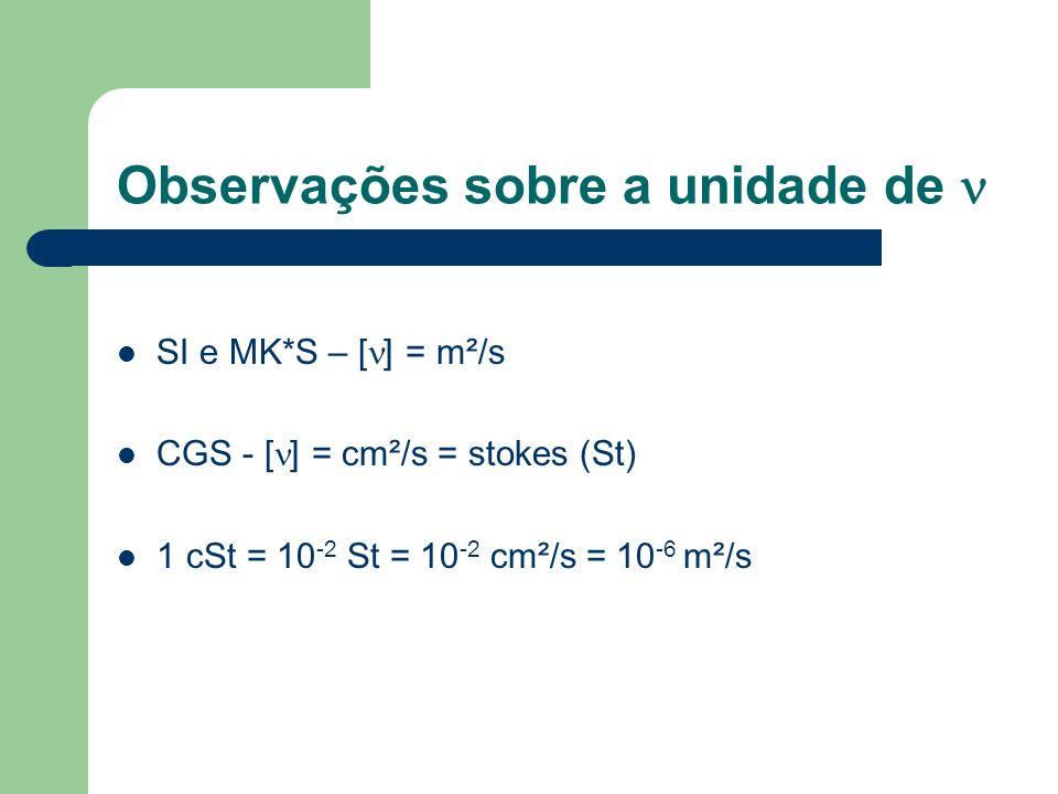Observações sobre a unidade de SI e MK*S – [ ] = m²/s CGS - [ ] = cm²/s = stokes (St) 1 cSt = 10 -2 St = 10 -2 cm²/s = 10 -6 m²/s